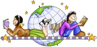 clipart of a woman and man reading books with the earth in the background
