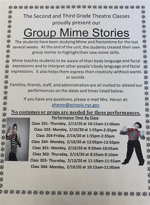 The Second and Third Grade Theatre Classes  proudly present our  Group Mime Stories