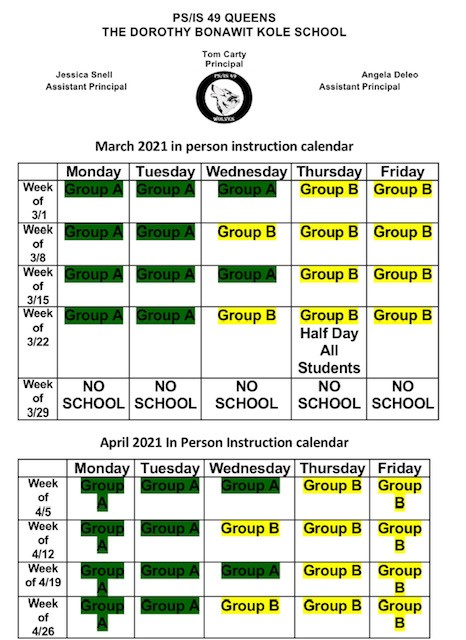 March and April Blended Learning Calendar