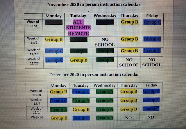 NOVEMBER/ DECEMBER Blended Learning Schedule